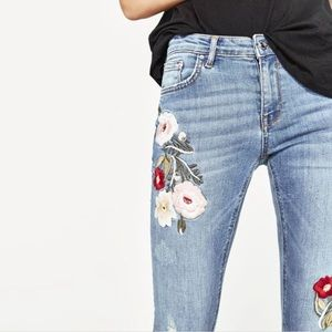 Zara Floral Embroidered Premium Denim Skinny Jeans